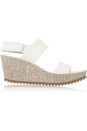 Fiona textured-leather wedge sandals
