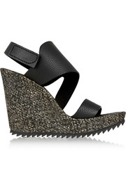 Vica textured-leather wedge sandals