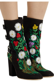 Laurence Dacade Merli floral-embroidered canvas ankle boots