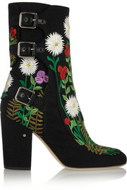 Merli floral-embroidered canvas ankle boots