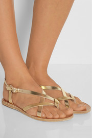 Ancient Greek Sandals Semele metallic leather sandals