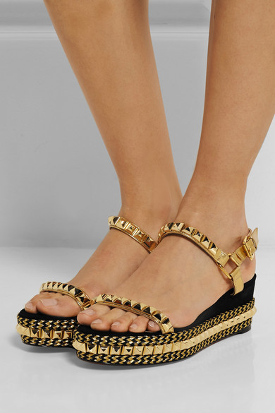 christian louboutin embellished suede sandals