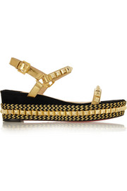 Cataclou 60 embellished suede and leather wedge sandals