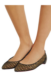Christian Louboutin Pigaresille leather-trimmed mesh point-toe flats