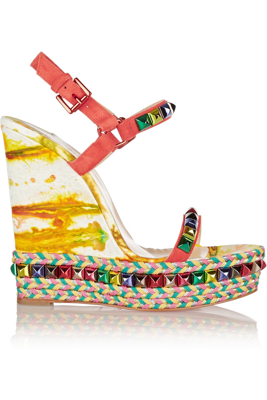 Christian Louboutin Cataclou 140 Embellished Suede and Leather Wedge Sandals, Red/Yellow, Women's US Size: 8.5, Size: 39