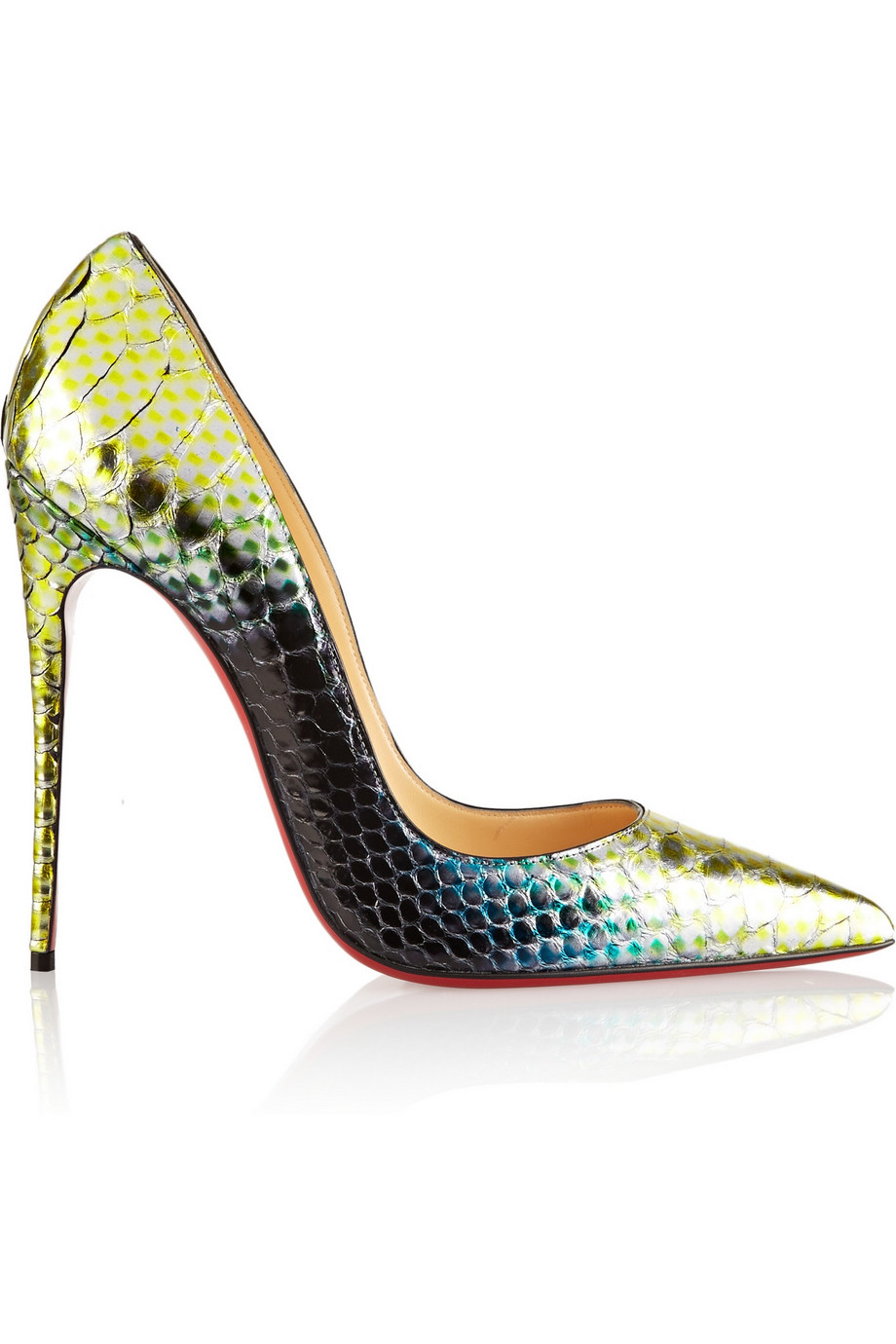 Christian Louboutin So Kate 120 Python Pumps, Green/Metallic, Women's US Size: 8.5, Size: 39
