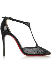 Christian Louboutin Salopatina 100 patent leather-trimmed embellished mesh pumps