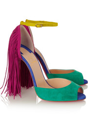 Christian Louboutin Otrot 120 fringed color-block suede sandals