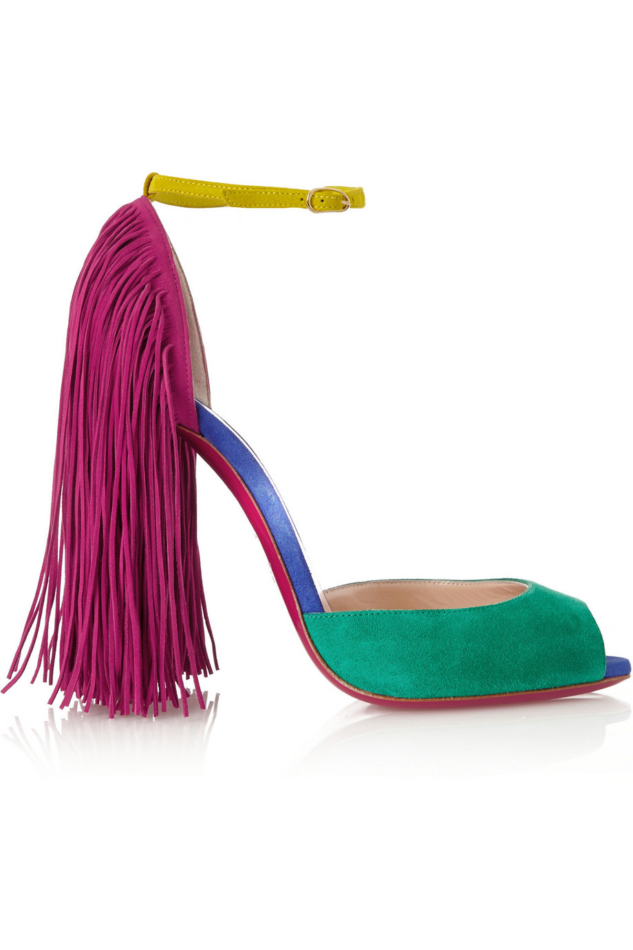 Christian Louboutin Otrot 120 Fringed Color-Block Suede Sandals, Emerald/Fuchsia, Women's US Size: 6.5, Size: 37
