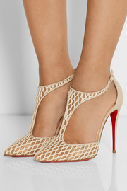 Salonu 100 embroidered mesh and leather pumps