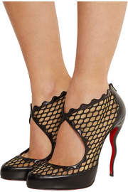 Christian Louboutin Violet net, mesh and leather ankle boots