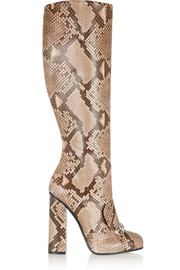 Horsebit-detailed python knee boot