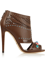 Embellished cutout leather boots
