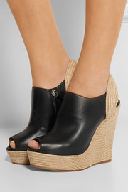 Leather and jute wedge boots
