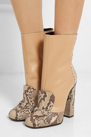 Horsebit-detailed python and leather ankle boots