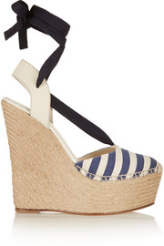 Striped canvas and leather wedge espadrilles
