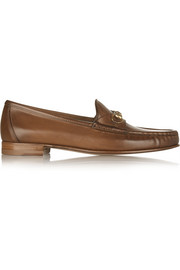 Horsebit-detailed burnished leather loafers