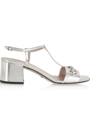 Horsebit-detailed metallic leather sandals