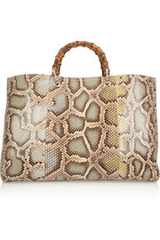 Gucci Bamboo Shopper large python tote