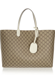 Turnaround large reversible textured-leather tote