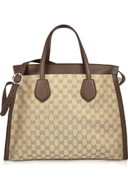 Gucci Ramble large leather-trimmed monogrammed canvas tote