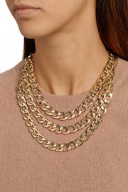 Kenneth Jay Lane Gold-plated multi-strand chain necklace