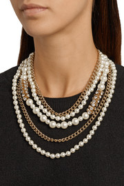 Kenneth Jay Lane Gold-plated, Swarovski crystal and faux pearl necklace