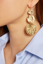 Kenneth Jay Lane Hammered gold-plated earrings