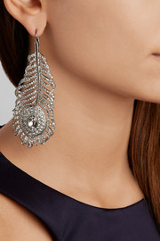 Rhodium-plated Swarovski crystal earrings