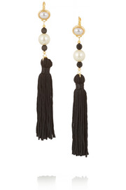 Gold-plated faux pearl tassel earrings