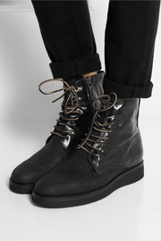 Esquivel Dublin distressed leather and canvas ankle boots