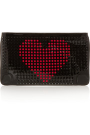 Loubiposh spiked patent-leather clutch