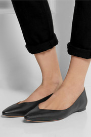 Chloé Textured-leather point-toe flats