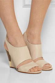 Textured-leather wedge sandals