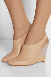 Wedge leather pumps