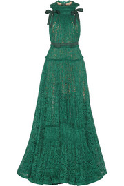 Lanvin Grosgrain-trimmed dentelle lace gown
