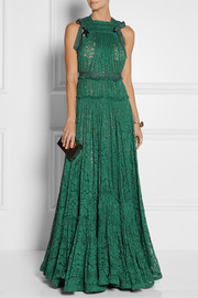 Grosgrain-trimmed dentelle lace gown