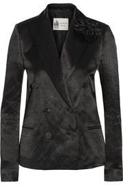 Lanvin Double-breasted linen-blend sateen blazer