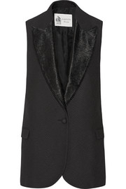 Satin-trimmed cotton-canvas vest