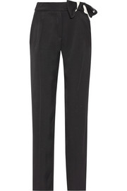 Crepe de chine straight-leg pants