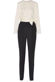 Lanvin Bow-embellished satin and crepe jumpsuit