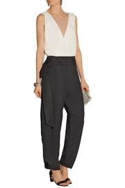 Color-block crepe jumpsuit