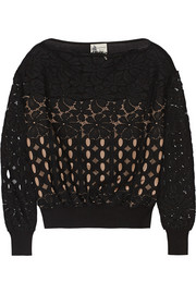 Lanvin Lace and cotton-blend sweater