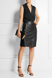 Studded leather skirt