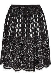 Pleated cotton-blend lace skirt
