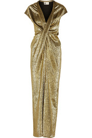 Lanvin Draped silk-blend lamé gown