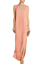 Chiffon-paneled silk-crepe column gown