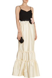 Embellished duchesse-satin maxi skirt