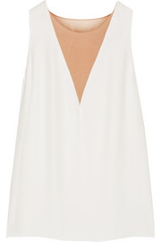 Lanvin Silk chiffon-paneled crepe top