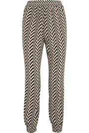 Printed silk crepe de chine tapered pants